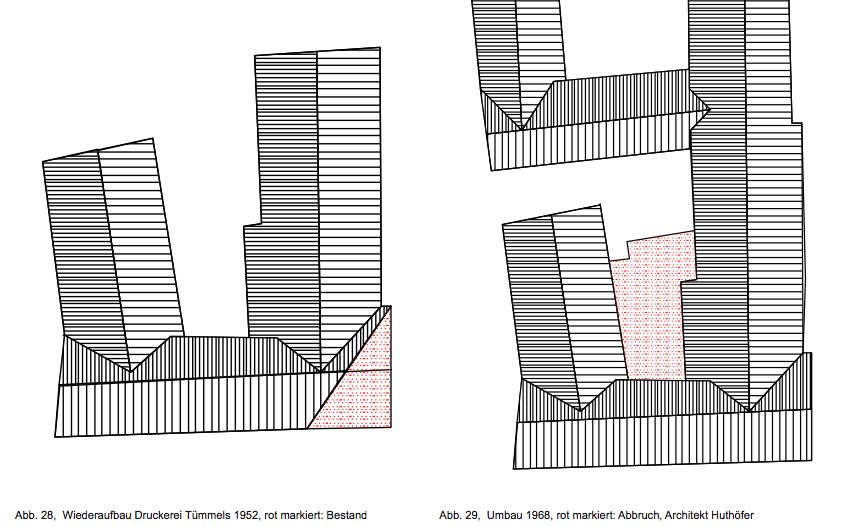 Wiederaufbau Druckerei Tümpels 1952 & Umbau 1968