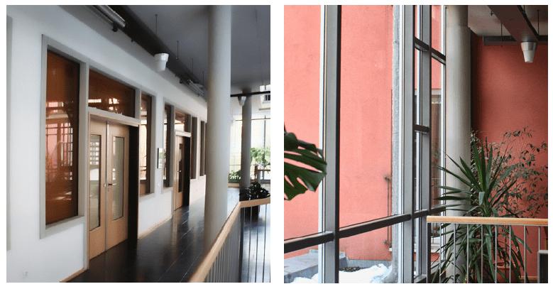 Gallerie in der Treppenhaushalle, Lichtsituation | Fensterfassade von Innen