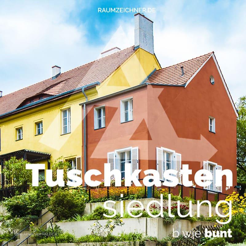Tuschkastensiedlung von Bruno Taut in Berlin, ein farbenfrohes Denkmal