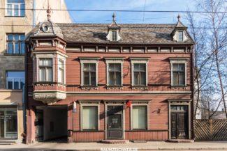 Fassade Holzhaus in Riga, Lettland