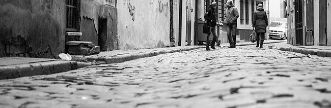 Kopfsteinpflaster in Riga, Lettland, Straßenbelag