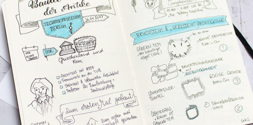 Bautechnik vor der Antike - Vortrag vom VDI in Berlin, Sketchnotes von Julia Faßhauer