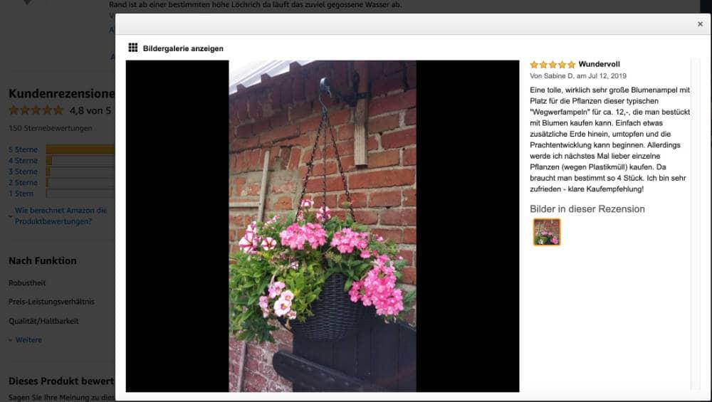 Dieses Bild zeigt den Screenshot eines echten Kundenbildes von Amazon.